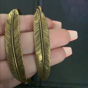 Alex and ani feather hoop earrings